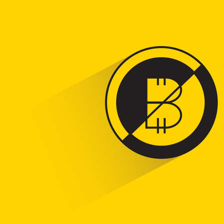 bitcoin icon with shadow on yellow background Vector Illustration