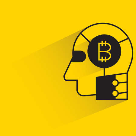 bitcoin in robot head icon with shadow on yellow background