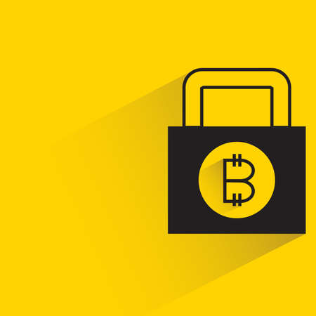 bitcoin private key on yellow background Vector Illustration