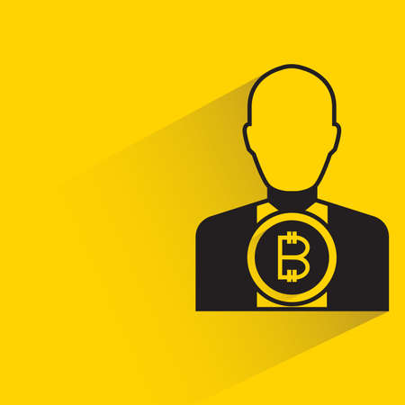 bitcoin investor with shadow on yellow background Vector Illustration