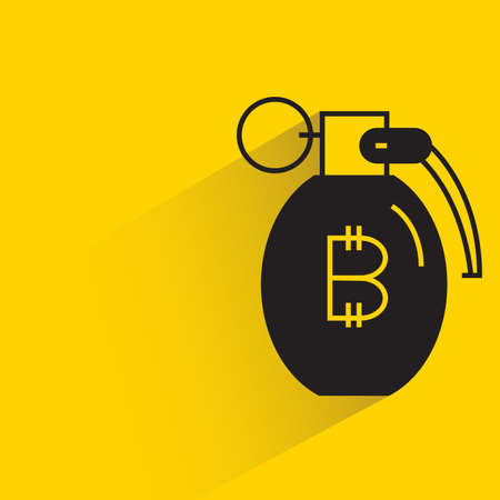 bitcoin money grenade for financial risk concept icon on yellow background