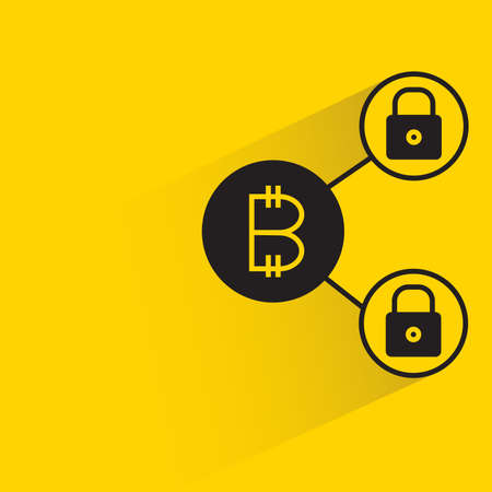 bitcoin and private key network icon on yellow background