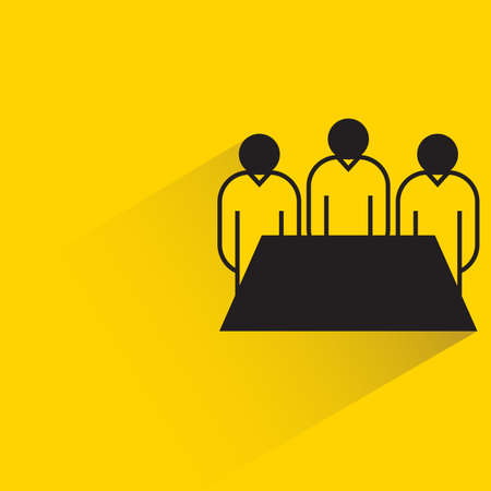 board meeting team icon on yellow background