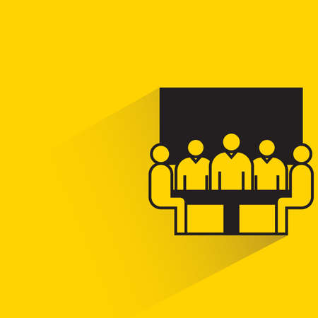 group of board meeting icon on yellow background