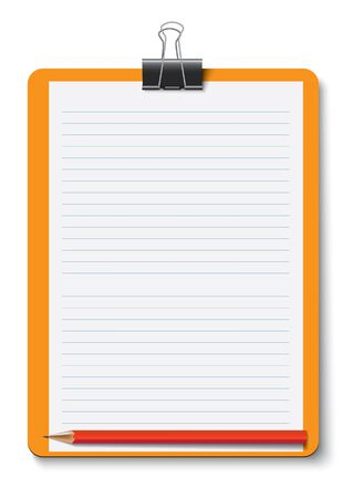 writing pad: pencil and writing pad , orange