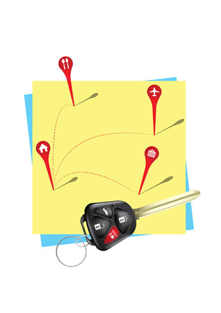 post it: Key electronic with Pointer on post it , GPS concept Illustration