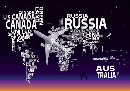 World map with white letters of english alphabet royalty free world map with white letters sky night background vector gumiabroncs Images