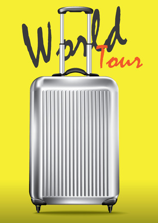 trolley case: World travel concept and luggage, yellow background