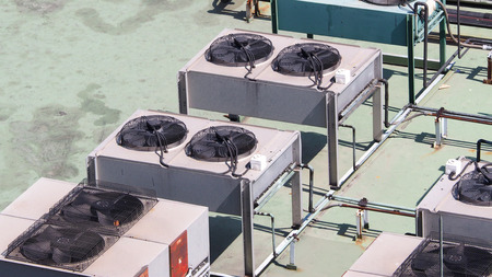 Air conditioner Compressor on the terrace and outdoor.