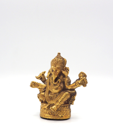 Gold metallic shining ganesha lord of success and white background. Stock Photo