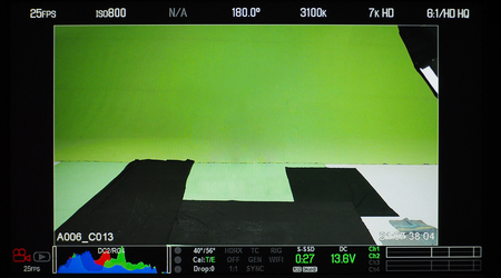 Video production recording monitor that have a green screen in studio and showed all shooting setup. Reklamní fotografie