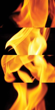 Fire for cooking is blazing dangerously close-up and yellow color on the black background.
