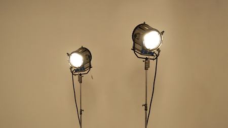 Big LED spotlight equipment for video or movie shooting in studio production. Stock Photo