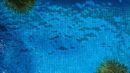 Top view or bird eye view images of swimming pool in summer season and sunny day which suitable for sport or relax on vacation time or chilling moment or workout for burn some calories in holiday. Stock Photo