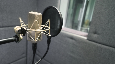 Studio microphone with shock mount and pop filter on professional tripod in acoustic foam room for best sound production on air and mix process in music industry and high quality broadcasting