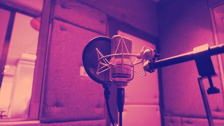 Sound production recording studio with microphone and shock mount 版權商用圖片 - 147746455