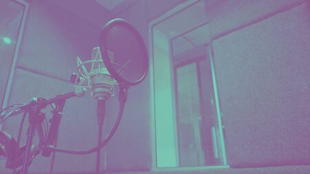 Sound production recording studio with microphone and shock mount 版權商用圖片 - 147746499