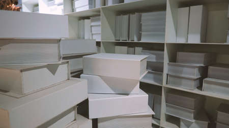 Realistic white color book shelf stack mock up for decoration in reading room which every book designed and made from hardcover paper and align on the wall and represent modern interior design Stok Fotoğraf