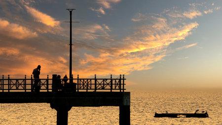 Bangsan Chonburi Thailand jetty and sunset. At Bangsan beach.