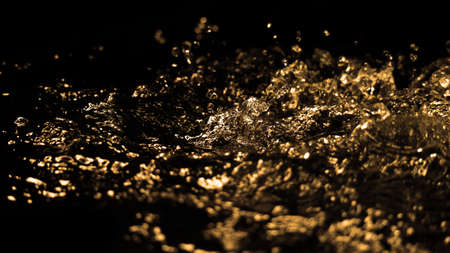 Hi speed close up images of oil liquid from diesel gasoline splashing and moving up to the air on black background. Power of fuel liquid that active and powerful. studio shot premium gold color tone.