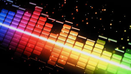 Music Equalizer bar. Audio waveform equalizer on screen black background. Music or sound wave on monitor. colorful sound visualizer abstract. gradient spectrum music graph. Digital graph glow in dark