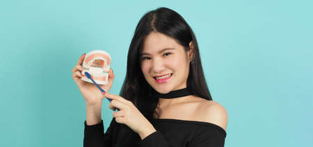 Woman holding dental teeth model or orthodontic model. Asian teenage black hair showing block of teeth for education. Pretty girl with plastic denture in hand. studio background. Oral care concept.