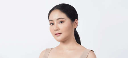 Beauty skin. makeup concept. Young pretty woman black hair and beauty face make up for skincare cosmetic. Showing delicate soft and firm and ageless facial skin. Oil type skin. Close up facial. beauty shot.