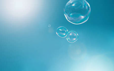 Shampoo bubbles floating like flying in the air by wind blow which represent refreshing playful or joyful moments and gentle soft comfortable and look wet and soapy for hygiene detergent product industry