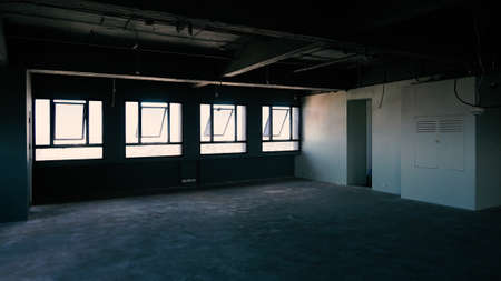 Bankrupt Office. Workplace without desk and people. Business office is closed. bankrupt business due to the effect of Coronavirus or COVID-19 pandemic. No rental office space. Empty and abandoned.