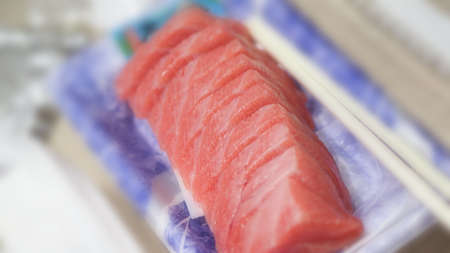 Tuna sashimi. Otoro sashimi ready to eat on plate from famous shop in supermarket Osaka Japan. Best part of Tuna is called Otoro which come from tuna fatty belly. Very popular menu for sushi lovers. 免版税图像