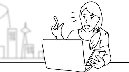 Woman and smartphone. Woman using smartphone. During leisure time. using the phone in everyday life. look at the smartphone and smile. Hand drawing style. illustrations black and white.