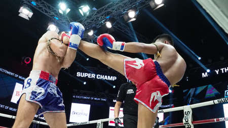 Bangkok Thailand November 11 2018. Unidentified Thai and foreign boxing players in competition fight Muay Thai Super Champ at Muay Thai Street Bangkok. Thai fight kick boxing. Illustrative Editorial.