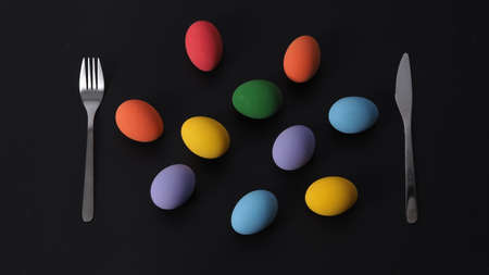 Easter eggs or color egg. Multi-colorful of easter eggs on background in studio with close-up shot which include many colour such as yellow, green, blue, purple, red on festival eggs by art painting.
