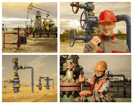 well head: Collage consisting of pictures of pump jack, well head, man engineer talking on the radio, woman engineer repairing weel head. Oil and gas concept. Toned.