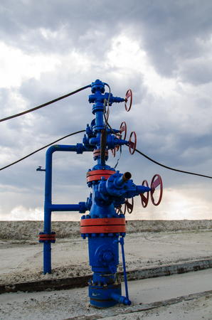 wellhead: Wellhead with valves. Oil and gas concept.