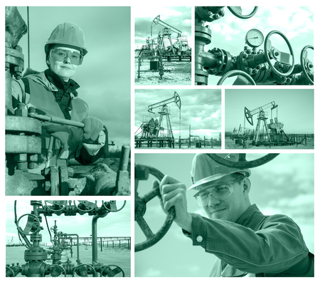 well head: Collage consisting of pictures of pump jack, well head, man engineer near well head valve, woman engineer repairing weel head. Oil and gas concept. Toned. Stock Photo