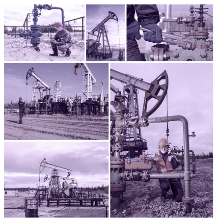 well head: Collage consisting of pictures of pump jack, man engineer near well head, another man talking on the radio, woman engineer repairing weel head. Oil and gas concept. Toned. Stock Photo