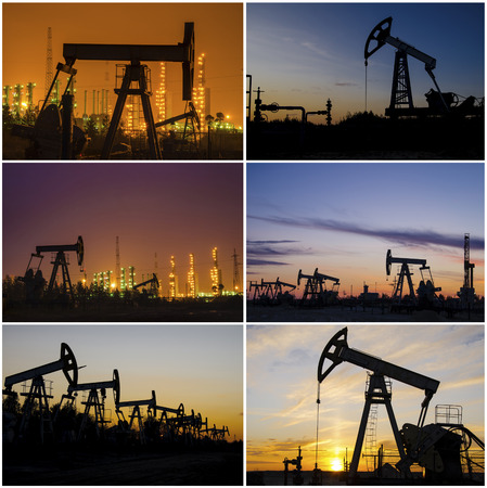 wellhead: Oil rig, derrick, wellhead, refinery during sunset in the oilfield. Collage. Oil and gas concept.