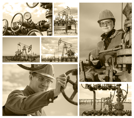 wellhead: Collage consisting of pictures of oil rig, wellhead, man engineer near wellhead valve, woman engineer repairing wellhead. Oil and gas concept. Toned. Stock Photo