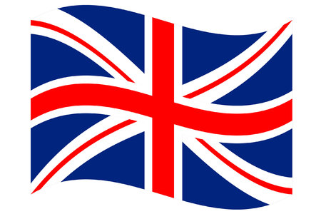 United Kingdom Union jack flag, isolated and fluttering over a white background