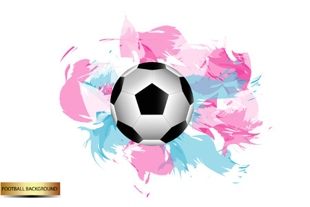 Football vector icon, soccerball with beautiful colored background. Illustration