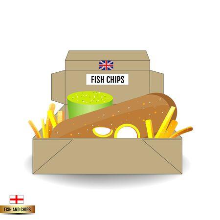 fish and chips: Fish and chips box