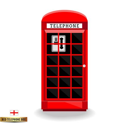 telephone box: England red telephone box Illustration