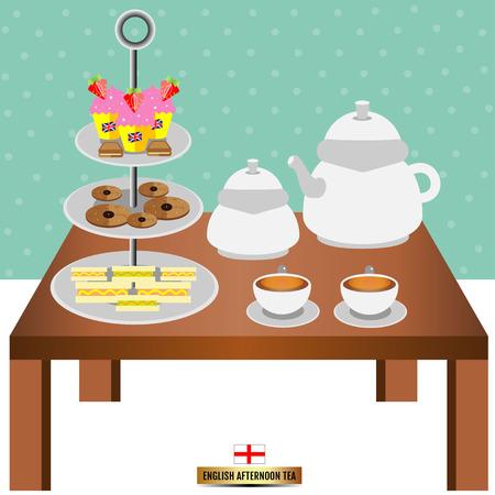 english tea: English afternoon tea Illustration