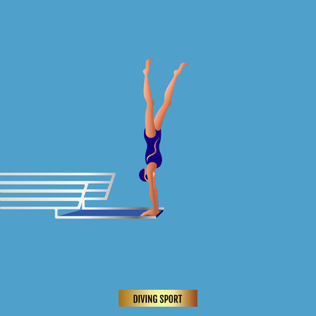 3D Flat Isometric Diving Swimming Diver Sport Athlete. Competition Race.
