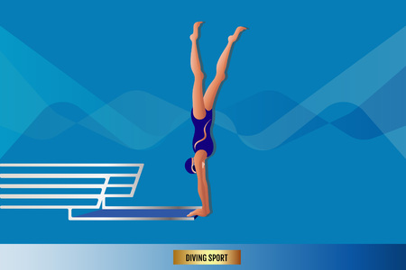 Diving and Swimming Summer Individual Sport. Vector illustration.