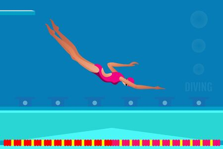 Sport Competition Race of Swimmer athlete people Vector illustration. Çizim