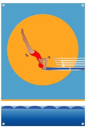Athlete diving on board, preparing to jump and dive.