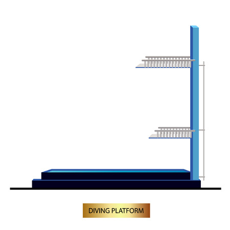 Diving platform. Diving sport , isolated vector illustration