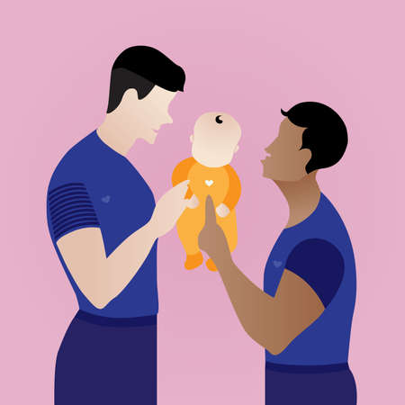 LGBTQ parents ,Homosexual male, non-heterosexual or non-cisgender family.Two happy men holding the baby kid. Gay couple with adopted child. equality home. Çizim